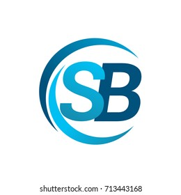 initial letter SB logotype company name blue circle and swoosh design. vector logo for business and company identity.