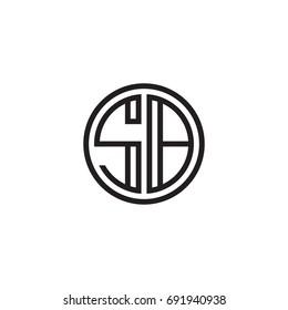 Initial letter SB, minimalist line art monogram circle logo, black color