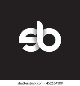 initial letter sb modern linked circle round lowercase logo white black