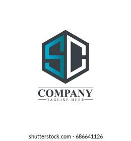 Initial Letter SC Hexagonal Design Logo