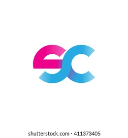 initial letter sc linked round lowercase logo pink blue purple