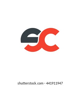 initial letter sc linked round lowercase logo red