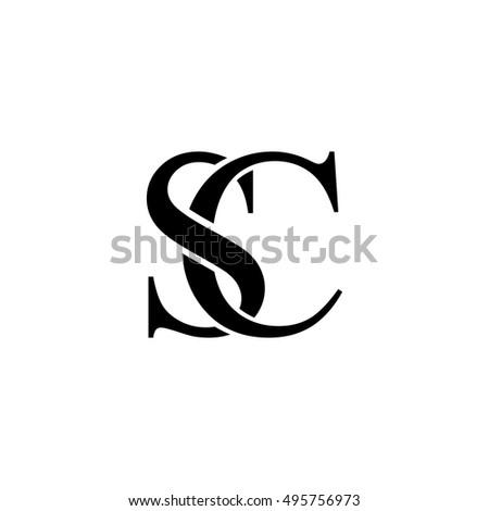 initial letter sc logo design black stock vector royalty free