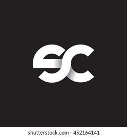 initial letter sc modern linked circle round lowercase logo white black