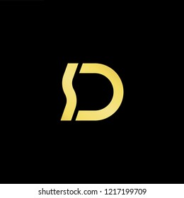 Initial letter SD DS minimalist art logo, gold color on black background.