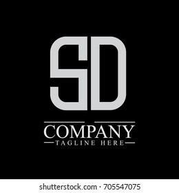 Initial Letter SD Linked Box Design Logo