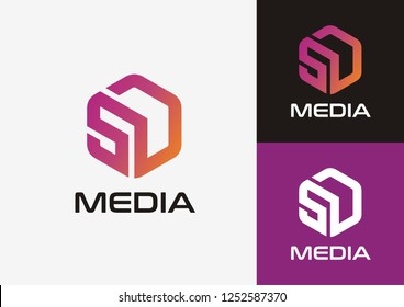 Initial letter SD logo concept with hexagonal shape