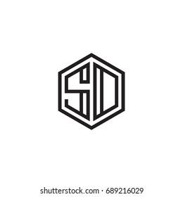 Initial letter SD, SO, minimalist line art monogram hexagon logo, black color