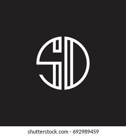 Initial letter SD, SO, minimalist line art monogram circle shape logo, white color on black background
