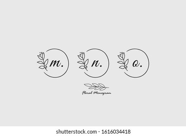Initial Letter set M, N, O Monogram with Floral Sign Symbol Design Template. Vector Illustration