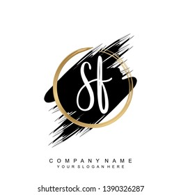 Initial letter SF beautiful handwriting logo vector template