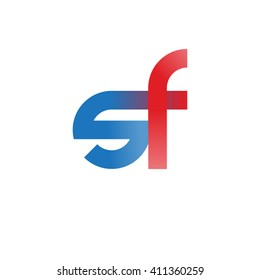 initial letter sf linked round lowercase logo blue red
