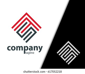 Initial Letter SF Maze Concept Design Logo