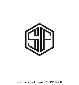 Initial letter SF, minimalist line art monogram hexagon logo, black color