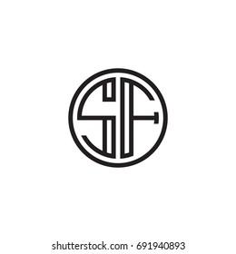 Initial letter SF, minimalist line art monogram circle logo, black color