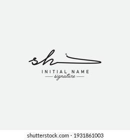 Initial Letter SH Logo - Handwritten Signature Logo