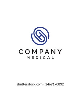 Initial letter SH logo with paper clip or pills shapes on the center