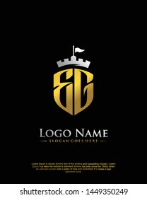 initial EG letter with shield style logo template vector
