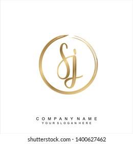 Initial letter SJ beautiful handwriting logo vector template