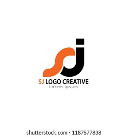 Initial Letter SJ Linked Circle Lowercase Logo Black orange Icon Design Template Element.you can change the color