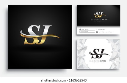 initial letter SJ logotype company name colored gold and silver swoosh design. Vector sets for business identity on white background.