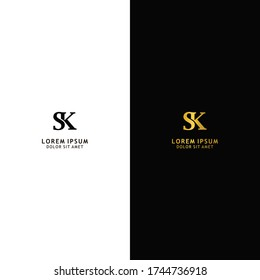 Initial letter SK linked uppercase logo design template elements. Gold letter isolated on black background. Black letter isolated on white background. Suitable for business, consulting group company.