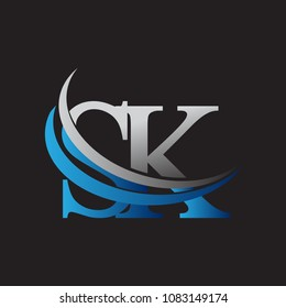 initial letter SK logotype company name colored blue and grey swoosh design. vector logo for business and company identity.