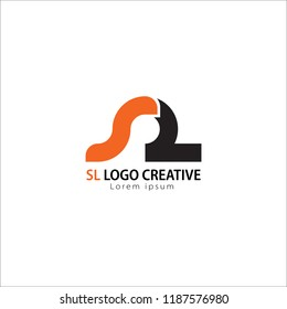 Initial Letter SL Linked Circle Lowercase Logo Black orange Icon Design Template Element.you can change the color