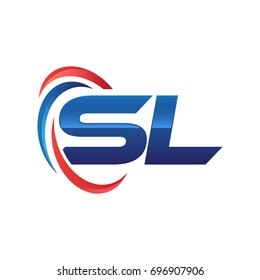 initial letter SL logo swoosh red blue