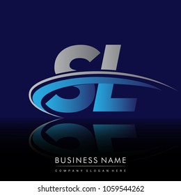 initial letter SL logotype company name colored blue and grey swoosh design. vector logo for business and company identity.