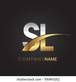 initial letter SL logotype company name colored gold and silver swoosh design. isolated on black background.