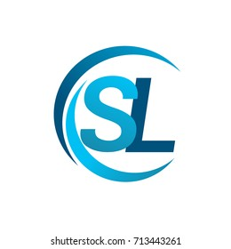 initial letter SL logotype company name blue circle and swoosh design. vector logo for business and company identity.