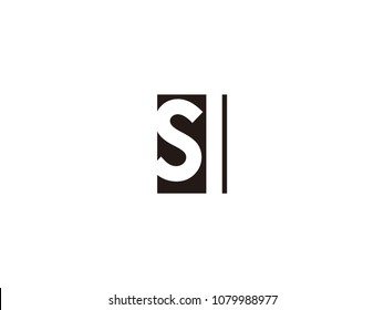 Initial letter sl lowercase logo black and white
