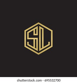 Initial letter SL, minimalist line art hexagon logo, gold color on black background