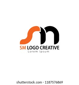 Initial Letter SM Linked Circle Lowercase Logo Black orange Icon Design Template Element.you can change the color