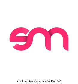 initial letter sm modern linked circle round lowercase logo pink