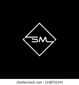 Initial letter SM MS minimalist art monogram shape logo, white color on black background.