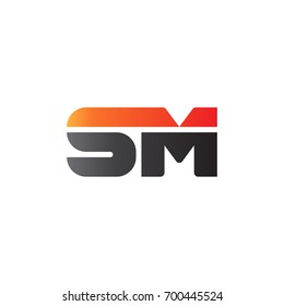 Initial letter SM, straight linked line bold logo, gradient fire red black colors