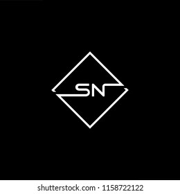 Initial letter SN NS minimalist art monogram shape logo, white color on black background.