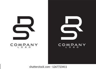 Initial Letter sr/rs Logo Template Vector Design with black and white background