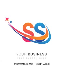 Initial Letter SS Logotype Company Name Colored Orange Red And Blue Swoosh Star Design