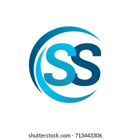 initial letter SS logotype company name blue circle and swoosh design. vector logo for business and company identity.