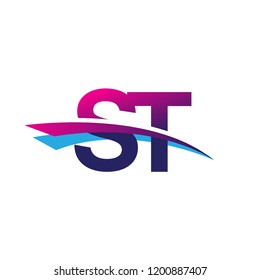 initial letter ST logotype company name colored blue and magenta swoosh design. vector logo for business and company
