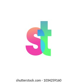 Initial Letter ST Lowercase Logo green, pink and Blue, Modern and Simple Logo Design.