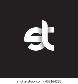 initial letter st modern linked circle round lowercase logo white black