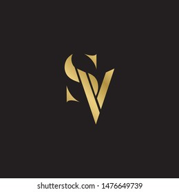 Initial letter sv uppercase modern logo design template elements. Gold letter Isolated on black  background. Suitable for business, consulting group company.