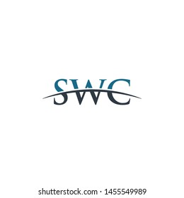 Initial letter SWC, overlapping movement swoosh horizon logo company design inspiration in blue and gray color vector