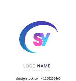 initial letter SY logotype company name, coloreful and swoosh design. vector logo for business and company identity.