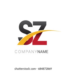 initial letter SZ logotype company name colored red, black and yellow swoosh design. isolated on white background.