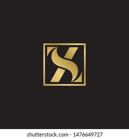 Initial letter sz uppercase modern logo design template elements. Gold letter Isolated on black  background. Suitable for business, consulting group company.